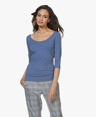 Josephine & Co Cher T-Shirt with Cropped Sleeves - Jeans Blue