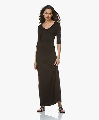 LaSalle Viscose Jersey Maxi Dress - Black