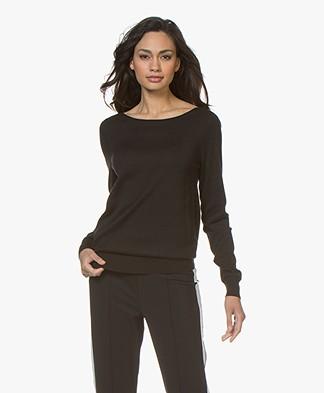 Repeat Cotton Blend Pullover - Black