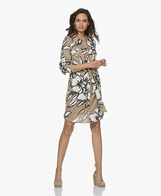 Majestic Filatures Linen Jersey Shirt Dress with Print - Ficelle