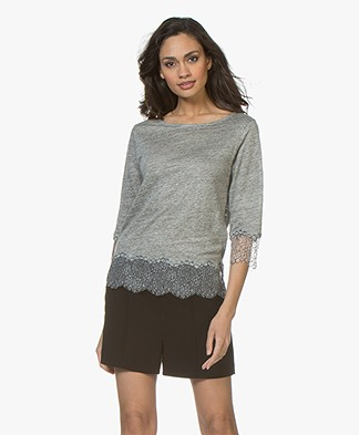 Majestic Filatures Linen Jersey T-Shirt with Lace - Granit