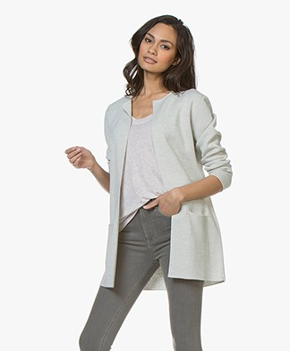 Sibin/Linnebjerg Vera Half Long Open Cardigan - Light Grey Melange