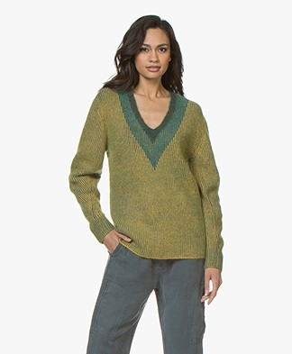 Rag & Bone Jonie V-Neck Sweater - Gold