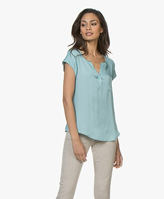 Repeat Silk Cap Sleeve Blouse - Ice Green