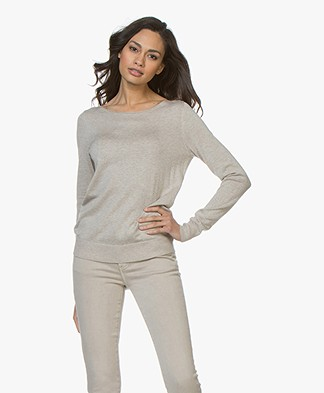 Repeat Cotton Blend Pullover - Light Beige