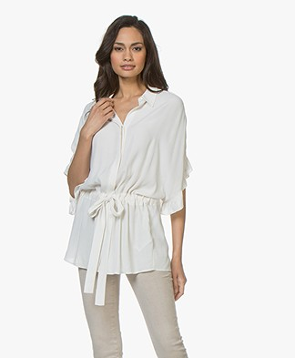 Repeat Viscose Blouse with Ruffle Sleeves - Cream