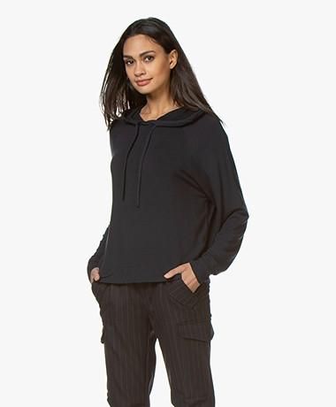 Majestic Filatures Viscose Hooded Sweater - Marine