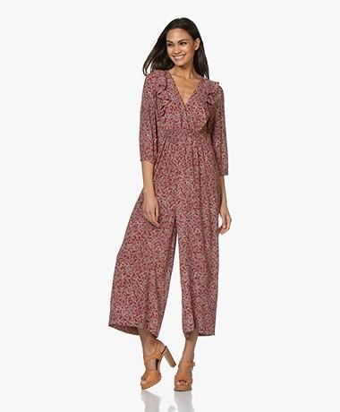 ba&sh Cloy Viscose Floral Print Jumpsuit - Carmine