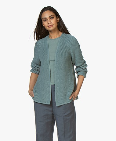Drykorn Drena Open Cotton Cardigan - Greyish Blue