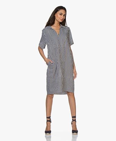 LaSalle Striped Linen Dress - Ocean