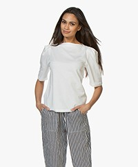 by-bar Jasmijn French Terry Puff Sleeve T-shirt - Off-white