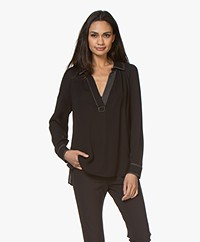 By Malene Birger Oliviaa Viscose V-neck Blouse - Black