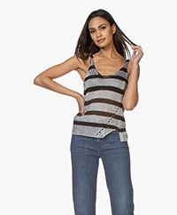 Zadig & Voltaire Joss Ab Metallic Striped Top - Silver/Black