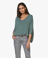 Majestic Filatures V-Hals T-shirt met 3/4 Mouw - Toscaans Groen