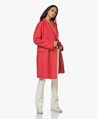 Closed Cross Double-breasted Wool Blend Coat - Geranium
