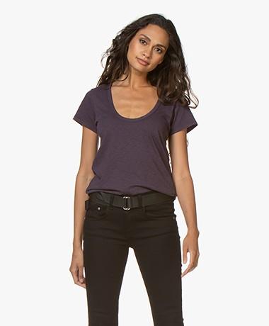 Rag & Bone Cotton U-neck T-shirt - Purplenight