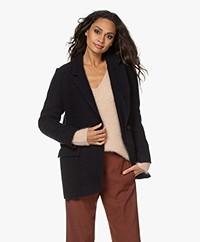 Pomandère Straight Wool Blend Blazer Coat - Navy