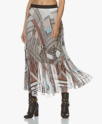 LaSalle Pleated Chiffon Print Skirt - Safari