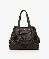 Jerome Dreyfuss Billy M Lambskin Tote - Black/Vintage Gold