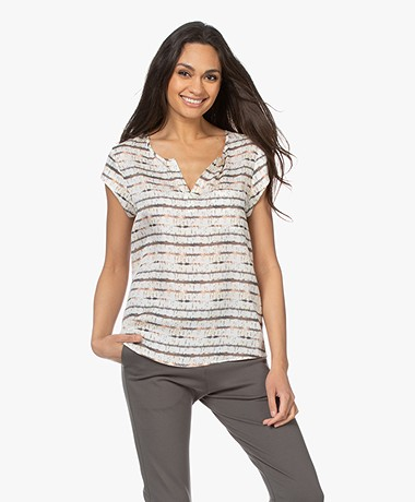 Repeat Silk Print Blouse Top with Cap Sleeves - Cream