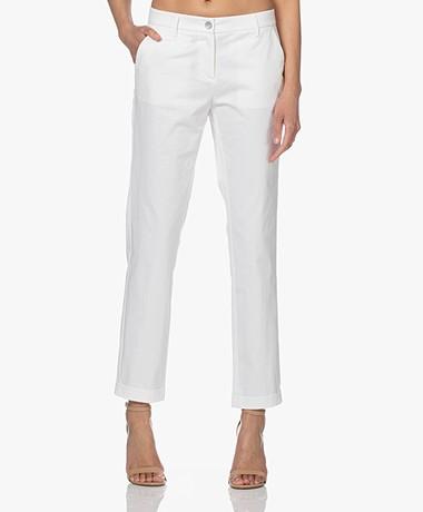 Repeat Stretch Katoenen Pantalon - Wit