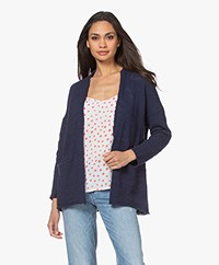 indi & cold Linen Blend Open Cardigan - Marino