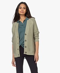 Repeat Ribbelsteek Katoenen V-hals Vest - Green Tea