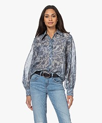 Repeat Voile Print Shirt in Cotton and Silk - Dusty Blue