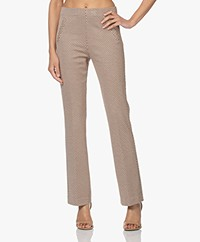 no man's land Flared Jacquard Jersey Trousers - Dark Toffee