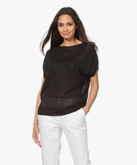 no man's land Lurex Short Sleeves Sweater - Core Black