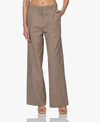 Vanessa Bruno Rodolf Checkered Wide Leg Pants - Camel/Black