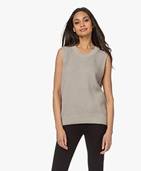 Joseph Sleeveless Sweater in Egyptian Cotton - Cloud