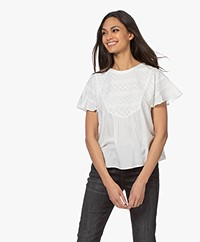 indi & cold Short Sleeve Embroidered Blouse - Crudo