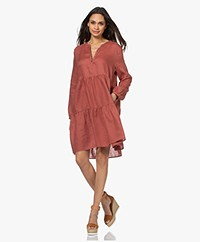 Repeat Pleated Linen A-line Dress - Cinnamon