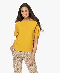 no man's land Cotton Short Sleeve Sweater - Ochre Yellow
