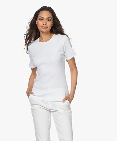 by-bar Jade Rib Knitted Cotton Top - Bright White
