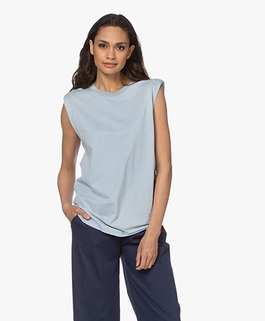 IRO Elena Jersey Top with Padded Shoulders - Light Blue
