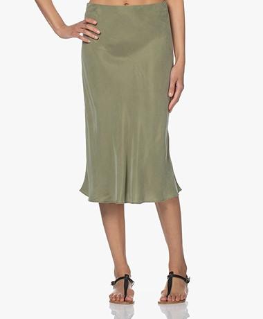 Denham Meryl Cupro Blend Midi Skirt - Green Bay