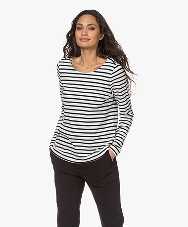 no man's land Striped Cotton Long Sleeve - Off-white/Core Black