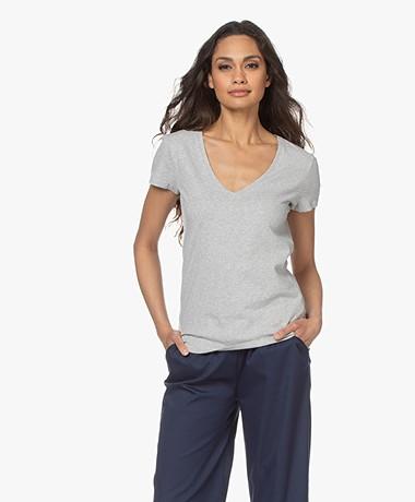 Majestic Filatures Julia Deluxe Katoenen V-hals T-shirt - Lichtgrijs Mêlee