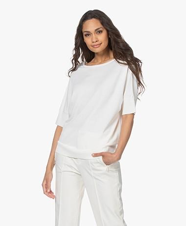 LaSalle Reverse Fine Knitted Short Sleeve Sweater - Panna