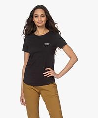 by-bar Moly Katoenen T-shirt met Geborduurd Detail - Zwart