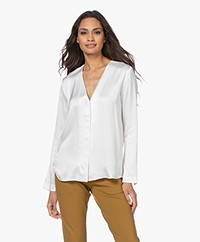 Woman by Earn Bella Satin V-neck Blouse - Off-white