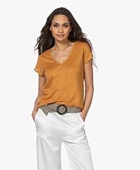 indi & cold Linnen V-hals T-shirt - Amber