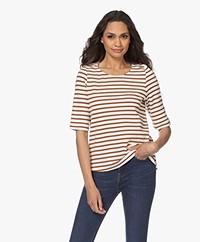 no man's land Striped Cotton T-shirt - Off - Cinnamon