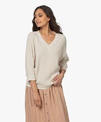 by-bar June Cotton Blend Rib V-neck Sweater - Ecru