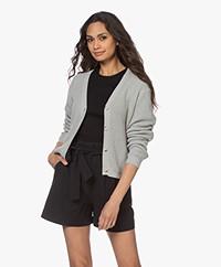 by-bar Malu Ribbed Cotton Button-through Cardigan - Light Grey