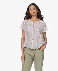indi & cold Floral Printed Short Sleeve Blouse - Lila