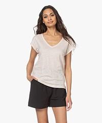 by-bar Mila Linen V-neck T-shirt - Oyster