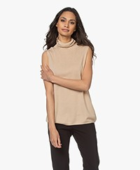 Josephine & Co Luuc Sleeveless Turtleneck Sweater in Tencel Blend - Natural